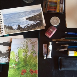 {SML Artist in Residence} Janis Goodman's watercolor studies of Appledore Island